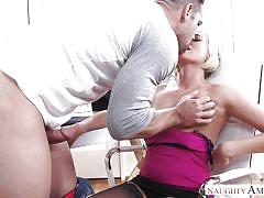 Blonde babe fucked by strong muscled stud
