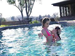 lesbians, babe, lesbian kissing, brunette, outdoors, swimming area, toe sucking, when girls play, riley reid, kimmy granger