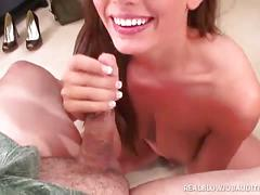 Brunette renna ryan's face gets cum-glazed!
