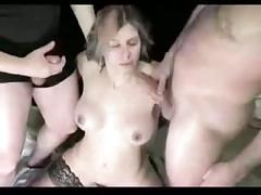 Amateur - cute wife gangbang with bukkake