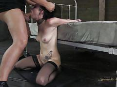 milf, tattoo, threesome, bdsm, interracial, stockings, brunette, tied up, black hair, suffocation, mouth fucked, sexually broken, veruca james, matt williams