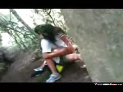 Students ngewe voyeur in the woods