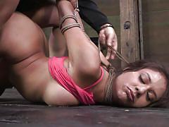 bondage, bdsm, babe, round ass, brunette, from behind, mouth fingering, tied hands, on floor, sexually broken, jynx maze, matt williams