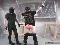 Tight white ass gets hard spanking.