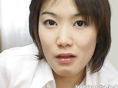 Naughty japanese gf blows cock and gets a gooey facial