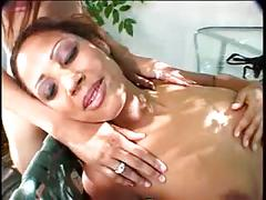 Three horny bitches dildo fucking and eating pussy out under the tree