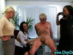 Femdom group handjob office hotties