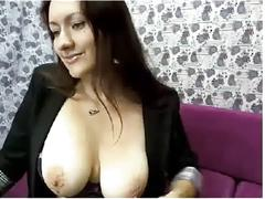Brunette with big breast makes a show for  wantonfetters.ru