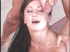 A sexy young slut with a tramp stamp gets fucked and a cum shot on the face