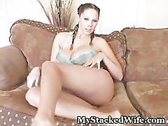 Monster tit babe enjoys her pussy
