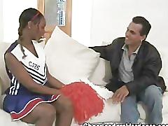 Ebony teen cheerleader blowjob