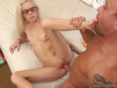 blonde, blowjob, small tits, petite, schoolgirl, babe, doggystyle, panties, tattoo, pussy-eating, doggy-style, reverse-cowgirl, natural-tits, small-tits, fucking-hot, halle-von, stocking