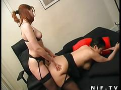 French lesbians in strapon fucking and fisting