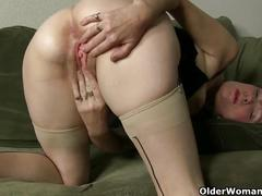 The feel of nylon gets mom hot and horny