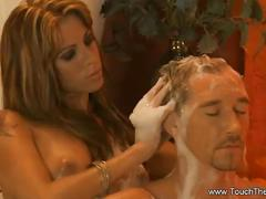 Blonde milf gives him one