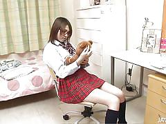 Pretty asian schoolgirl sucking three men