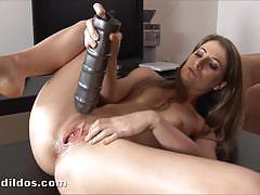Lepidoptera fucks her tight pussy with giant dildo