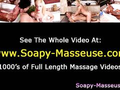 Asian babe giving soapy massage to customer
