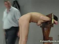 Slave gets her ass red of spanking