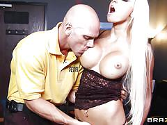 blonde, big tits, babe, office, fingering, security, pussy eating, fake tits, squeezing tits, at school, big tits at school, brazzers network, johnny sins, rikki six
