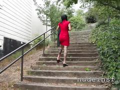 Nude in san francisco:  hot asian girl walks naked up public stairs