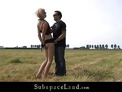 Blonde marina tiedup and fucked on the field