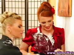 Glamour lesbian gloryhole bukkake