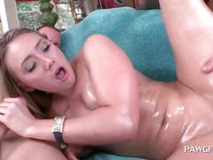 Blonde anal queen gets double fucked in 3some