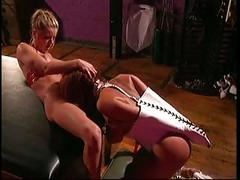 Smoking hot big tits mistress taking care of her big tits slave