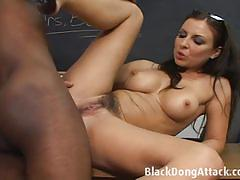 Hairy teacher gets her ass fucked by a black dong.