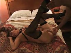 Slutty babe gets taste of black cock