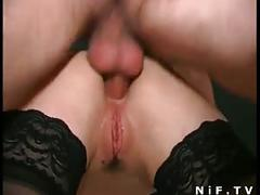 Beautiful french babe gets a double penetrations