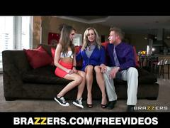Brandi love in threesome action with mature couple