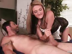 Teentugs-slutty maid jacks off her boss