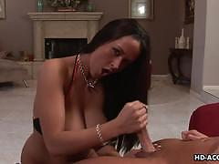 Bosomy brunette carmella bing gives hand job