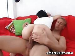 Skinny amateur girlfriend sucks and fucks with huge facial