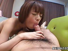Haruka yanase makes a hairy cock cum a massive.