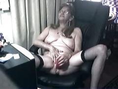 Pervert cute granny having fun at computer. amateur