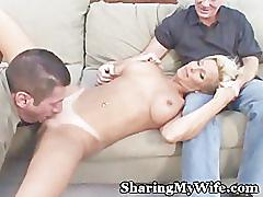 amateur, blonde, mature, couples, cuckold, wife, hubby, watching, milf, busty, swinger, sharingmywife.com, fake-tits