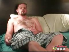 Hairy dad chris strips and strokes cock