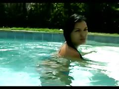 Jasmine black wet mastubation around the swiming pool