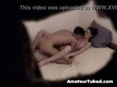 Young couple in hidden cam sex