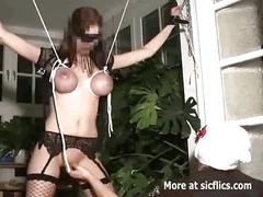 Brutal pussy fisting in tight rope bondage