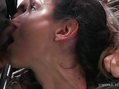 milf, bdsm, prison, domination, blowjob, humiliation, brunette, cage, infernal restraints, wenona, mattie borders