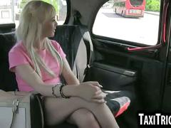 Foxy blonde babe sucks her taxi drivers hard cock