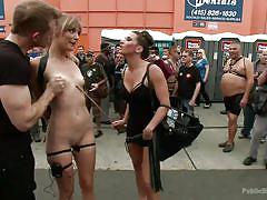 Slutty blonde loves to be disgraced in public