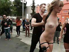 small tits, bdsm, submissive, whipping, humiliation, slapping, public disgrace, outdoors, blonde babe, public disgrace, kink, mona wales, bill bailey, ariel x