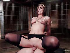 Brunette getting fucked in the basement