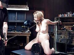 slave, master, dungeon, tied up, blonde babe, mouth gag, nipple clamps, in chain, torture device, device bondage, kink, winnie rider