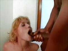 Hot little chic takes 4 bbc all cum in her mouth